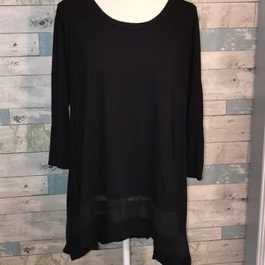 Black Swing top with mesh inset black XL